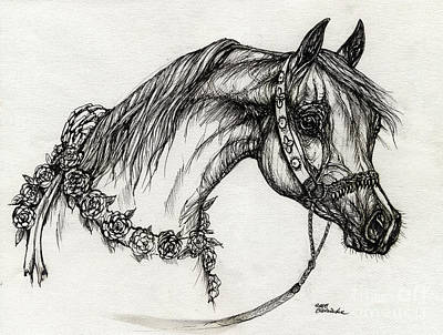 Arabian Horse Drawing 22 Poster by Angel  Tarantella