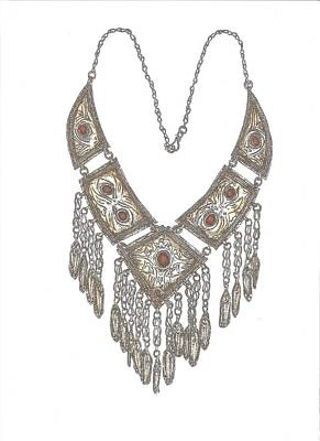 Arabian Necklace Coloured Poster by Gloria Hunter