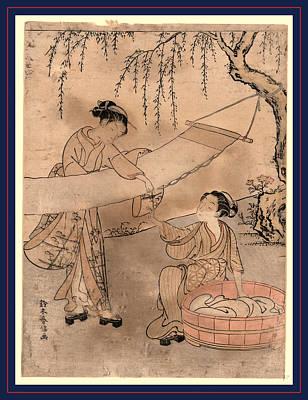 Araihari, Washing And Stretching Cloth. Between 1767 Poster