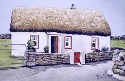Poster featuring the painting Aran Island Thatched Roof Cottage  by Melinda Saminski