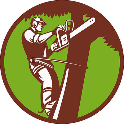 Arborist Tree Surgeon Trimmer Pruner Poster by Aloysius Patrimonio
