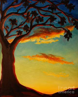 Poster featuring the painting Arbutus Sunrise by Janet McDonald