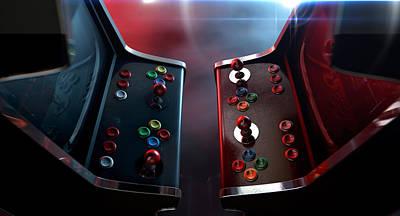 Arcade Machine Opposing Duel Poster by Allan Swart