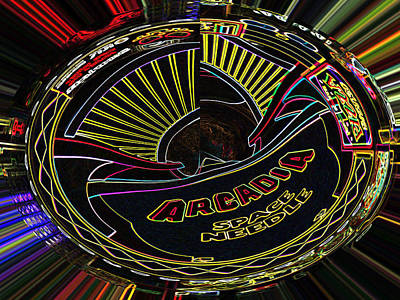Arcadia Space Needle Abstract Poster by Marian Bell