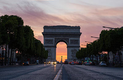 Arch Of Triumph With Dramatic Sunset Poster