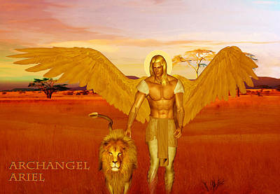 Poster featuring the painting Archangel Ariel by Valerie Anne Kelly