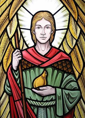 Poster featuring the glass art Archangel Raphael Detail by Gilroy Stained Glass