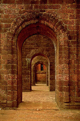 Arched Path At The Basilica Of Bom Poster