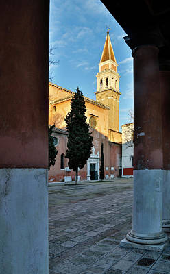 Arches And View Of Bell Tower San Poster by Darrell Gulin