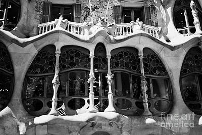 architectural details and windows of casa batllo modernisme style building in Barcelona Catalonia Sp Poster