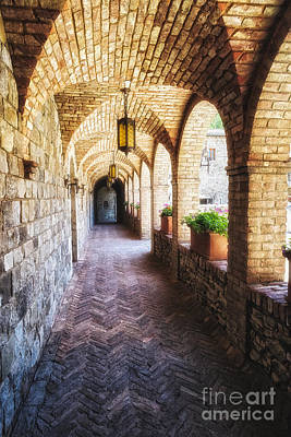 Archways Of A Tuscan Castle In Napa Valley Poster by George Oze