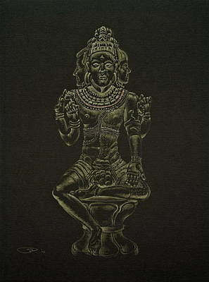 Poster featuring the drawing Ardhanarishvara I by Michele Myers