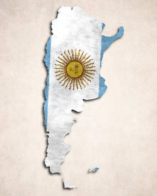 Argentina Map Art With Flag Design Poster