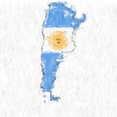 Argentina Painted Flag Map Poster