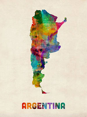 Argentina Watercolor Map Poster by Michael Tompsett