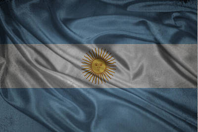 Argentinian Flag Waving On Canvas Poster