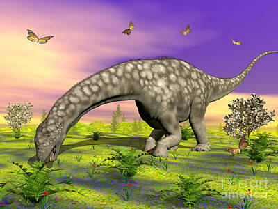 Argentinosaurus Eating Plants While Poster by Elena Duvernay