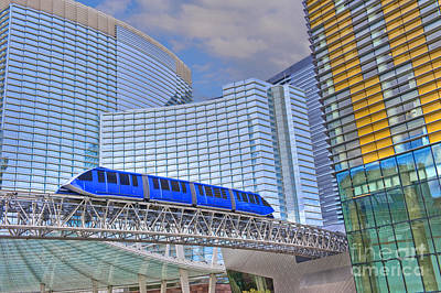 Aria Las Vegas Nevada Hotel And Casino Tram  Poster by David Zanzinger