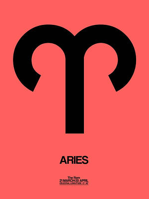 Aries Zodiac Sign Black Poster by Naxart Studio