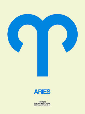 Aries Zodiac Sign Blue Poster by Naxart Studio