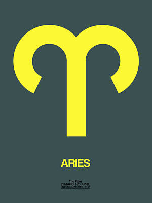 Aries Zodiac Sign Yellow Poster by Naxart Studio