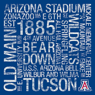 Arizona College Colors Subway Art Poster