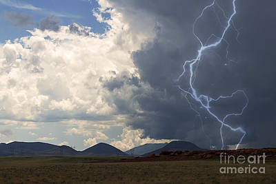 Arizona Desert Lightning  Poster by Janice Rae Pariza