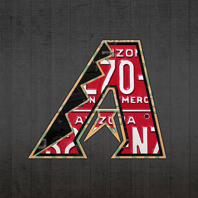 Arizona Diamondbacks Baseball Team Vintage Logo Recycled License Plate Art Poster