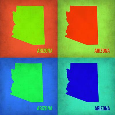 Arizona Pop Art Map 1 Poster