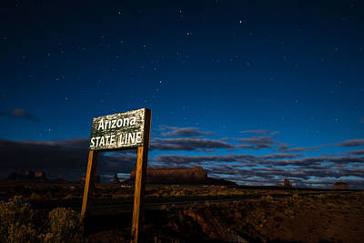 Arizona State Line In Monument Valley At Night Poster