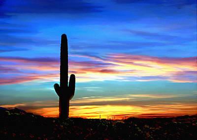 Arizona Sunset Saguaro National Park Poster
