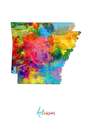 Arkansas Map Poster by Michael Tompsett