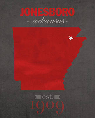 Arkansas State University Red Wolves Jonesboro College Town State Map Poster Series No 014 Poster by Design Turnpike
