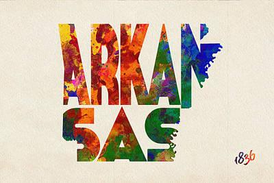 Arkansas Typographic Watercolor Map Poster by Ayse Deniz