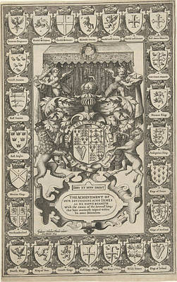 Arms Of England, Surrounded By Weapons, Jodocus Hondius Poster by Jodocus Hondius (i)