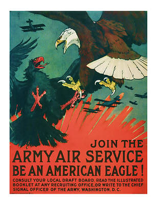 Army Air Service - Vintage Ww1 Art Poster by Presented By American Classic Art