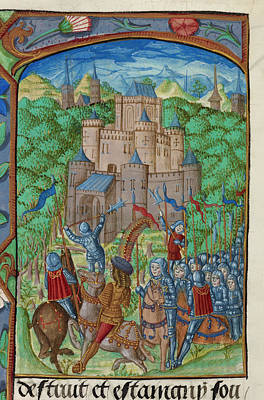 Army Laying Siege To A Castle Poster by British Library