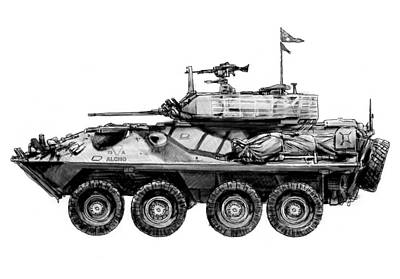 Army Tank Drawing Art Poster Poster