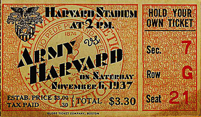 Army Vs Harvard 1937 Ticket Stub Poster by Bill Cannon