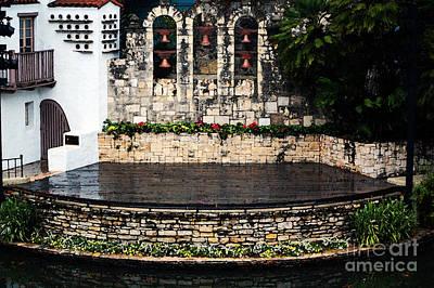 Arneson River Theater Stage On The Riverwalk La Villita San Antonio Texas Watercolor Digital Art Poster by Shawn O'Brien