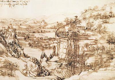 Arno Landscape Poster by Leonardo da Vinci