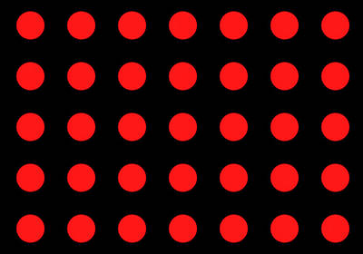 Array Of Red Circles On Black Poster by Daniel Hagerman