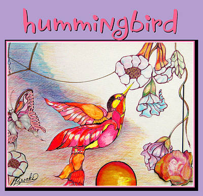 Poster featuring the drawing Hummingbird And Flower by Brooks Garten Hauschild