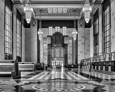 Art Deco Great Hall #1 - Bw Poster