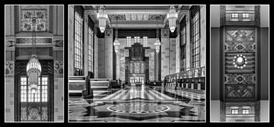 Art Deco Triptych #1 - Bw Poster