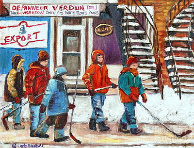 Art Of Verdun Depanneur Deli Patisserie Fleuriste Fruits Montreal Paintings Hockey Art Scenes Verdun Poster by Carole Spandau