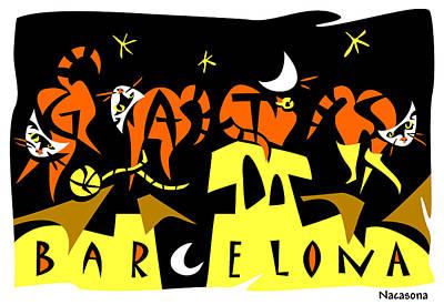 Art Postcard 4 Gats Barcelona Poster