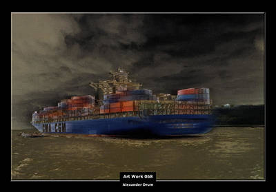 Art Work 068 Container Ship Poster by Alexander Drum