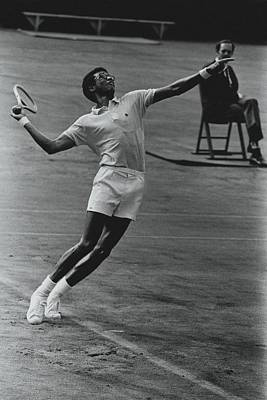 Arthur Ashe Playing Tennis Poster by Jack Robinson