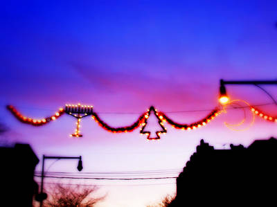 Poster featuring the photograph Arthur Avenue Holiday Lights by Aurelio Zucco